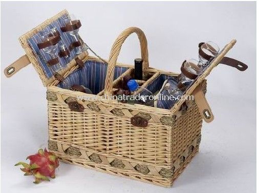 Willow Picnic Basket with Cooler Bag from China