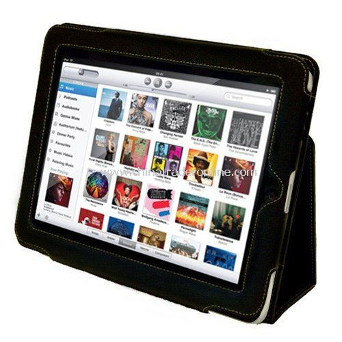 Leather Case Cover and Flip Stand for the Apple iPad - Black from China