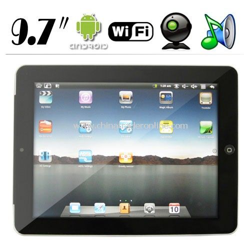 2.0 MP Camera 9.7 Inch Touch Widescreen Android 2.1 OS Tablet PC