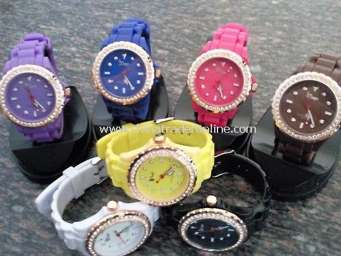 Colorful Crystal Plastic Watch