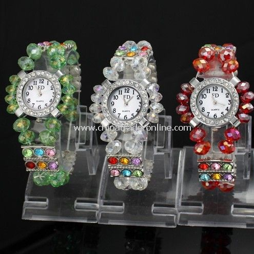 Fashion Watch, Crystal Beads Band Bracelet Watch