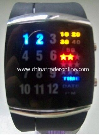 Multicolor 29 LEDs Silver Strap LED Watch
