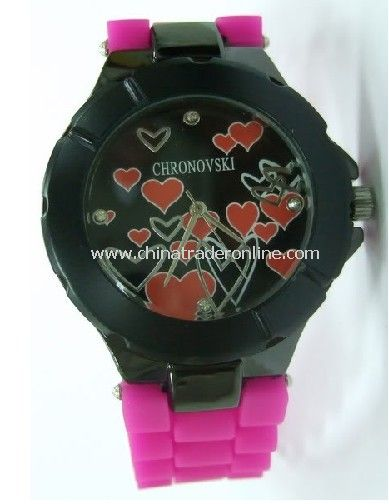 Pink Silicone Fashion Chronovski Lovely Heart Wrist Watch, Lover/Couple Watch, Valentines Day Gift from China