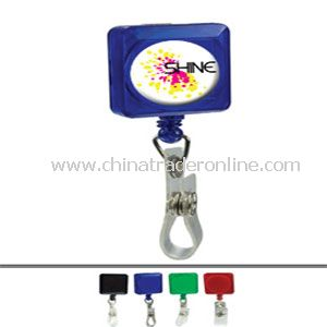 Square Domed Retractable Badge Holder With Slip On Clip