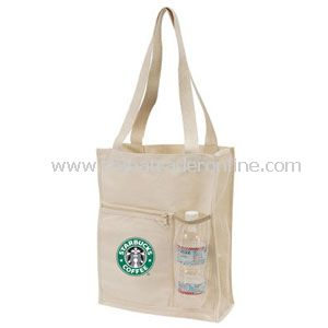 Canvas Mesh Tote Bag w/Bottle Holder