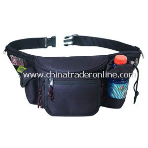 7 ZIPPERS FANNY PACK W/BOTTLE HOLDER & CELL PHONE POUCH & FRONT FLAP