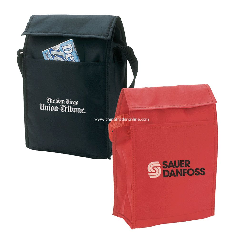 Lunch Bag w/ Front Pocket & Velcro Closure