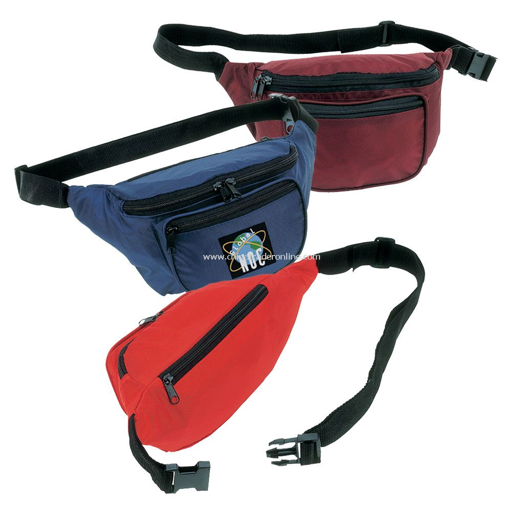 Three Zipper Compartment w/ Adjustable Belt & Snap Buckle