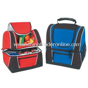 DELUXE RIPSTOP POLY COOLER LUNCH BAG W/LEATHER-LIKE BOTTOM