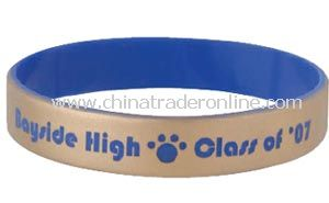 Promotional Silicone Bracelets with Metallic Overlay