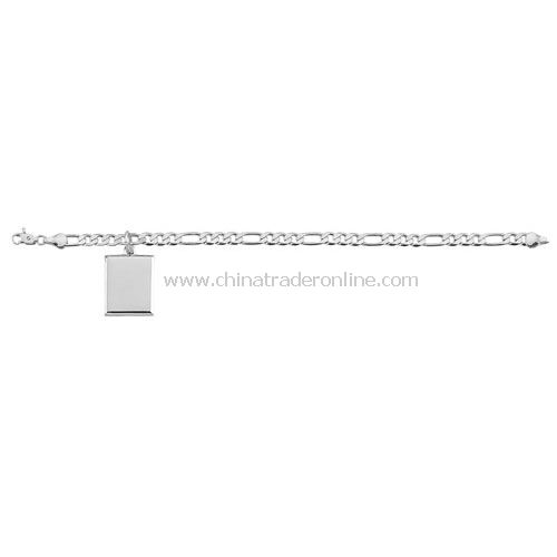 STERLING SILVER PLATED BRACLET WITH RECTANGULAR PENDANT