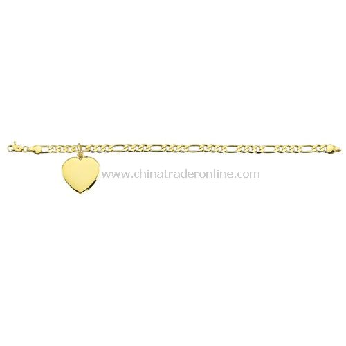 GOLD PLATED BRACLET WITH HEART PENDANT