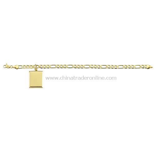 GOLD PLATED BRACLET WITH RECTANGULAR PENDANT