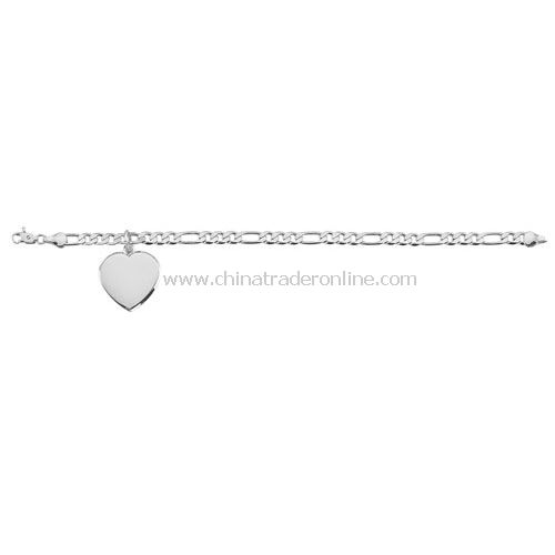 STERLING SILVER PLATED BRACLET WITH HEART PENDANT