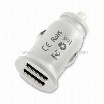 Dual USB Port Mobile Car Charger for Apples iPad/iPhone 3G, 4G, Various Colors Acceptable
