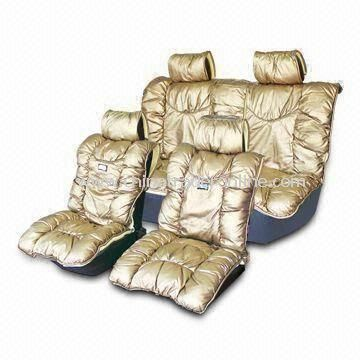 8-piece Set Car Seat Cushion, Made of Gold Light Leather, Universal Seat Cover