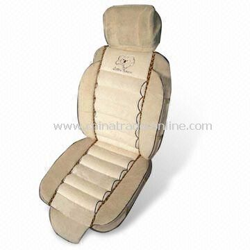 Car Seat Cushion with Embroidered Logo, Made of Velvet, Available in Various Colors