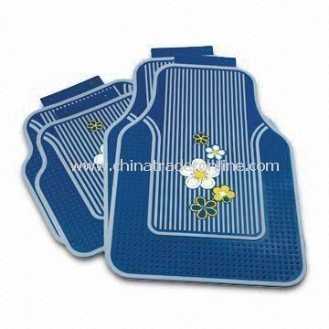 4pcs/Set Blue Rubber Floor Mat, Available in Universal Size Fits Most Cars