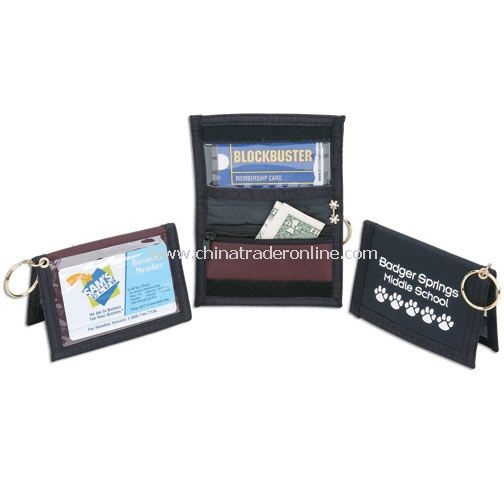 NYLON ID WALLET W/KEYRING & ZIPPER POCKET (WITH INSIDE/OUTSIDE CLEAR VINYL) from China