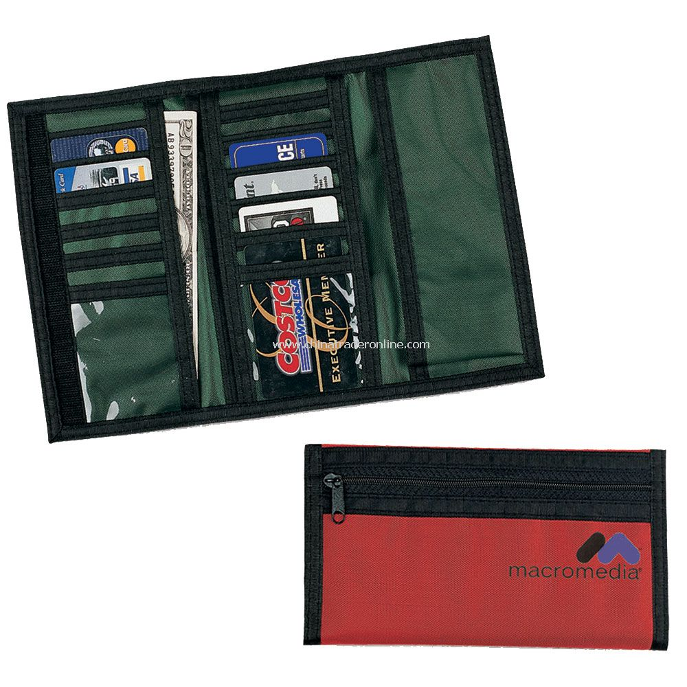Tri-Fold Check Book Wallet w/ Ten Card Slots, Two Clear Pockets & Zipper Back Pocket