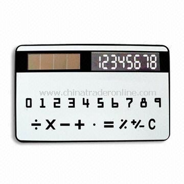 Eight Digits Handheld Calculator with Solar Power and Credit Card Size