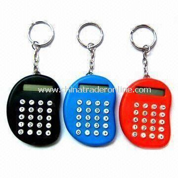 Key Ring-shaped Eight Digit Calculator