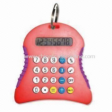 Promotional Mini Calculator with Keychain and 8 Digits