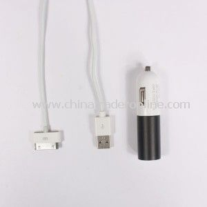 Black White Fashionable Cute USB Port Car Charger + White Charge Cable for Ipod Touch 4,Iphone 3,Iphone 4,Ipad