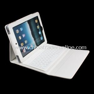 White Deluxe Bluetooth Keyboard Synthetic Leather Book Style Folio Case for Ipad