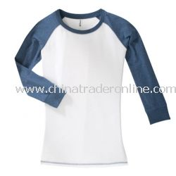 District Threads Junior Ladies 3/4-Sleeve Perfect Weight Raglan Tee