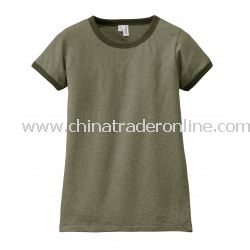 District Threads Junior Ladies Heathered Jersey Perfect Weight Ringer Tee