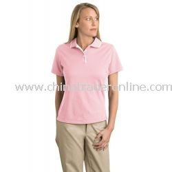 Ladies Dri-Mesh Sport Shirt with Tipped Collar and Piping