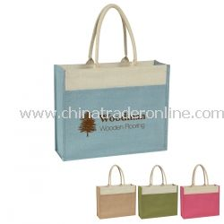 Jute Reusable Tote Bag With Front Pocket