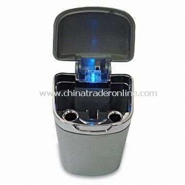 Ashtray with Blue LED Light and Logo Imprinting, Fits in Any Cup Holder