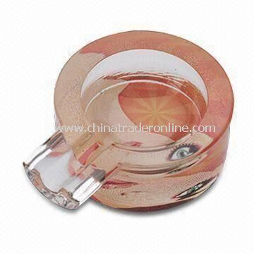 5.8 x 7.7 x 2.6cm Ashtray, Made of Glass, Customized Printings are Accepted from China