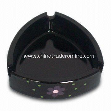 Black Triangular Shape Ashtray Weighing 315g with 107 Top Diameter and 90mm Bottom Diameter