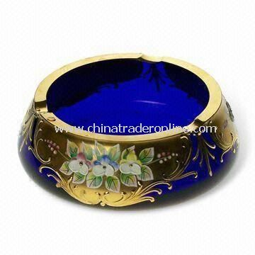 Blue Ashtray with Gilt Decoration and 350mL Capacity