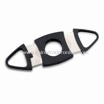 9cm Stainless Steel Cigar Cutter with Matte ABS Finger Casing