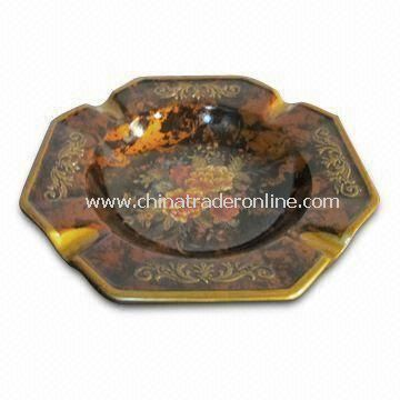 Ceramic Ashtray, Made of Dolomite, Decal, Crackled and Resin, Measures 20 x 20 x 4cm