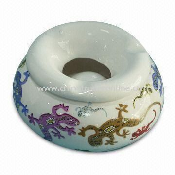 Ceramic Ashtray, Made of Dolomite Material, with Decal, Measures 10 x 10 x 5cm