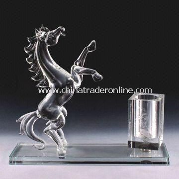 Crystal Figurine with Pen Set, Paperweight, Ashtray and Business Card Holder, Luxurious
