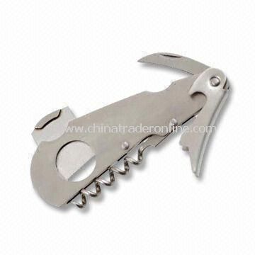 Extra Strong Corkscrew with Guillotine Cigar Cutter, Made of 100% Stainless Steel
