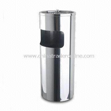 Stainless Steel Trash Bin with Ashtray, Measuring 25 x 60cm