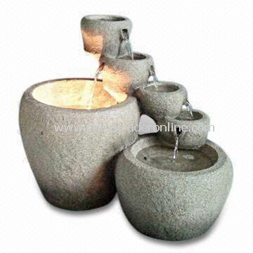 19-inch Light and Durable Stone Mortar Fountain with Light, Made of Fiberglass Material from China