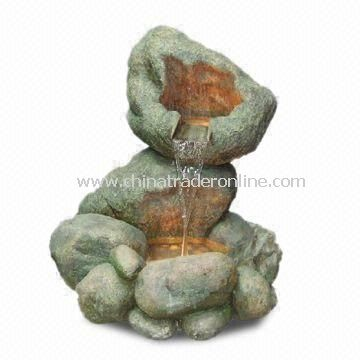 2-layer Rockpool Fountain, Fits for Outdoor Use, Made of Polyresin and Fiberglass