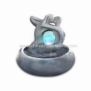 9.5-inch Durable Table Fountain in Various Designs with LED, Made of Fiberglass