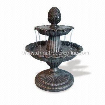 Close Design Two Tier Fountain, Made of Fiberglass, 36.5-inch Height, Various Designs are Available
