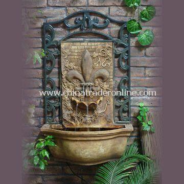 Fleur De Lis Wall Fountain, Made of Fiberglass, with 30.5-inch Height