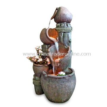Fountain, Fit for Outdoor Use, Made of Polyresin and Fiberglass