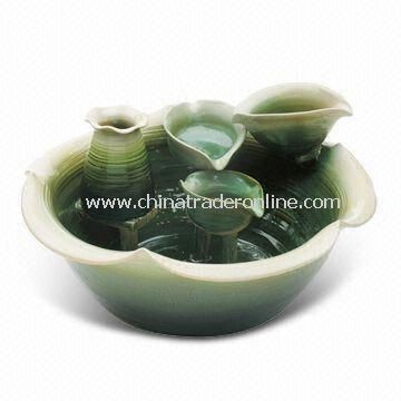 Handmade Ceramic Green Leaves Fountain, Simple but Nice and Delicate
